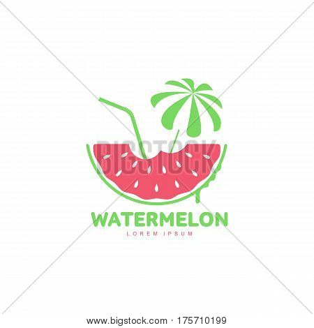Logo template with watermelon slice, beach umbrella and cocktail straw, summer season concept, vector illustration isolated on white background. Watermelon logotype, logo design, summer vacation