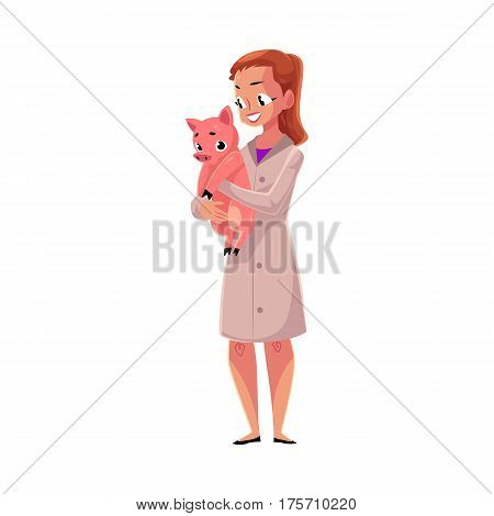 Young woman, female veterinarian doctor, vet in white medical coat holding little pig, cartoon vector illustration isolated on white background. Female, woman veterinarian doctor, vet holding a piglet