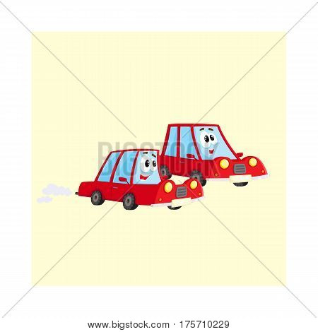 Two cute and funny red car characters racing, hurrying somewhere at full speed, cartoon vector illustration isolated on white background. Funny red car character, mascot racing with each other