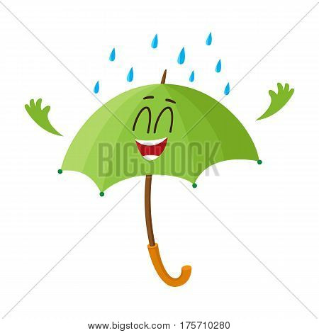 Cute and funny open green umbrella character with smiling human face happy with rain, cartoon vector illustration isolated on white background. Open umbrella, parasol character, mascot, design element