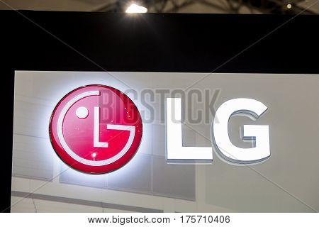 Moscow, Russia - February, 2016: LG company logo on the wall. LG is a South Korean multinational conglomerate corporation