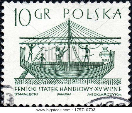 CIRCA 2017: A stamp printed in Poland shows a Phoenician merchant ship the series Sailboats circa 1965