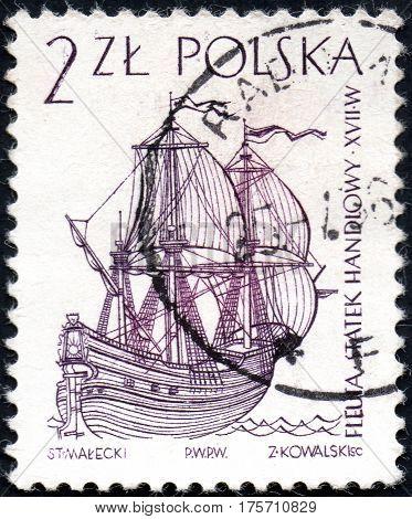 UKRAINE - CIRCA 2017: A stamp printed in Poland shows a Dutch merchant ship the series Sailing Ships circa 1964