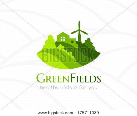 Farm green landscape and house logo. Conceptual icon for natural products agriculture bio and organic vegan stores