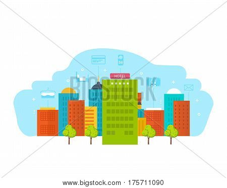 Building is modern hotel, with the surroundings and nearby city infrastructure, parks, nearby buildings. Vector illustration isolated on white background.