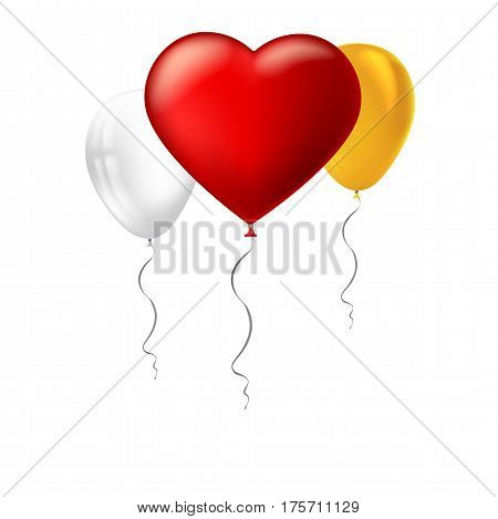 Bright red heart, the inflatable balloon in the shape of a big heart with tape, ribbon and other colored inflatable balloons. Greeting card for your friends, loved ones on white background.