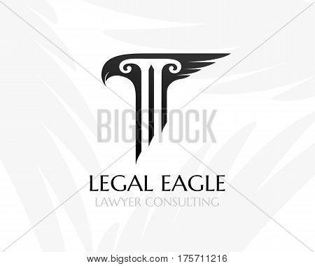 Pillar with eagle had and wing. Law firm logo template. Concept for legal firms notary offices or justice companies