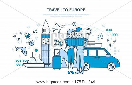 Young family, hold a joint vacation and holidays, in the summer in Europe, relaxing, getting acquainted with the sights. Illustration thin line design of vector doodles, infographics elements.