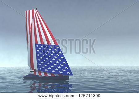 Sailboat With Sail Colored As American Flag On The Sea
