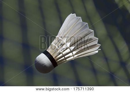 Goose feather badminton shuttlecock and racket closeup