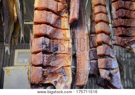 Smoked catfish at the fish shop in Samara