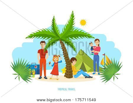 Summer travel tropical. Family trip to warm country in his car. Familiarity with the country, atmosphere of the surroundings, traditions, holidays. Vector illustration isolated on white background.