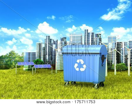 Blue dumpster (container) standing on green grass in the background a clean city. 3D illustration