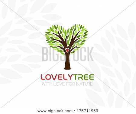 Tree with heart shaped crown. Logo template. Concept icon for real estate organic product store vegan cafe.