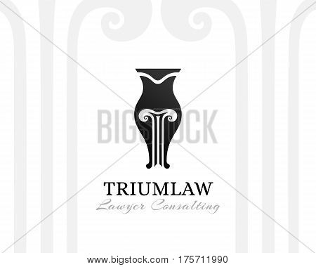 Pen with pillar sihouette. Law firm logo template. Concept for legal firms notary offices or justice companies