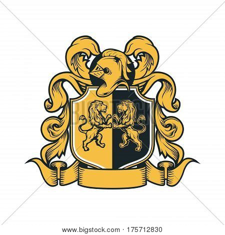 Coat Arms Vintage Knight Royal Family Crest  Heraldic Emblem Shield