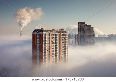 Thick fog in the Moscow area in the morning