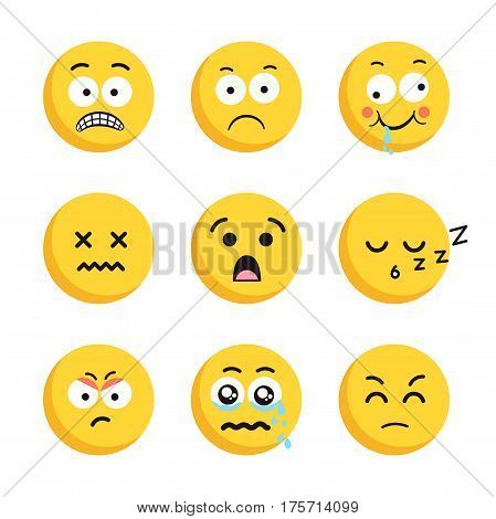 Sad smiling emoticon faces set. Collection of sad and cry emoji. Yellow faces isolated on white background