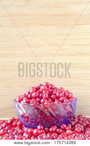 bunch of red ripe cranberry in a glass blue bowl on a wooden table in cranberries on a wooden background shield