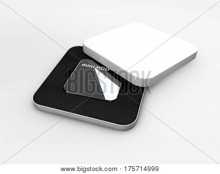 Hdd, mini hard disk drive, components, 3d Illustration
