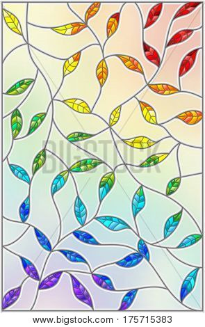 Illustration in the style of stained glass with leaves painted in a rainbow on a light background