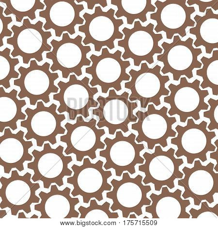 Brown Gears. White Background. Abstract Chocolate Pattern. Vector Illustration