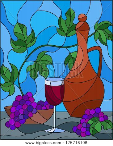 The illustration in stained glass style painting with a still life a jug of wine glass and grapes on a blue background