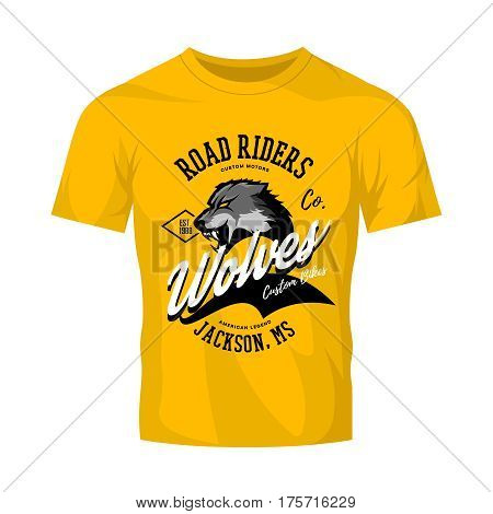 Vintage American furious wolf bikers club tee print vector design isolated on yellow t-shirt mockup.   Mississippi, Jackson street wear t-shirt emblem. Premium quality wild animal superior logo concept illustration.