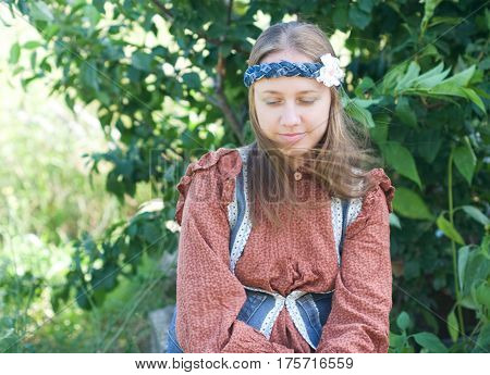 portrait of pensive dreamy girls clothing boho style