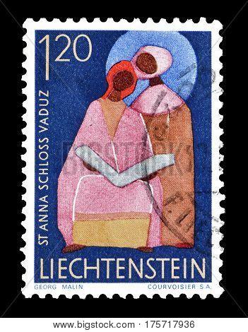 LIECHTENSTEIN - CIRCA 1967 : Cancelled postage stamp printed by Liechtenstein, that shows Saint Anna.