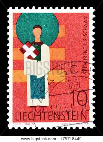 LIECHTENSTEIN - CIRCA 1968 : Cancelled postage stamp printed by Liechtenstein, that shows Saint Laurentius.