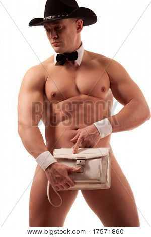 Muscular naked male stripper with ladie purse