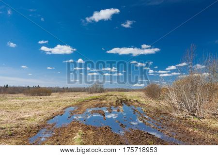Road with big puddle on the field on countryside and blue sky reflection in puddle on sunny spring day