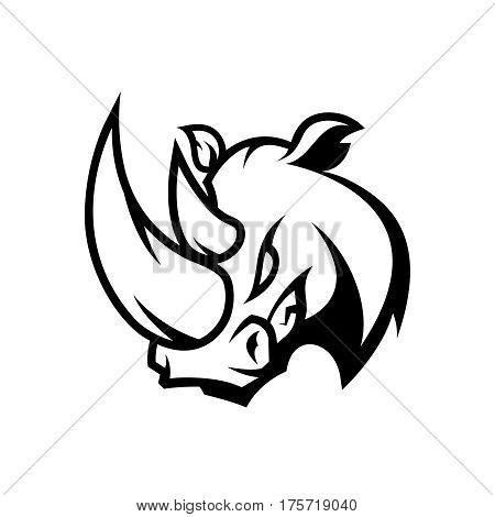 Furious rhino sport mono vector logo concept isolated on white background. Professional team badge design. Premium quality wild animal t-shirt tee print illustration.