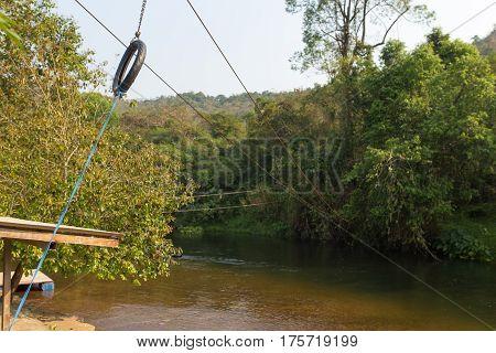 Sliding zip line in an adventure park Thailand.