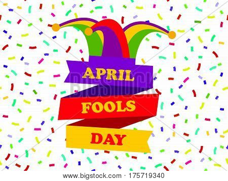 April Fools Day. Cap With Bells. Jester Hat With Ribbon. Festive Banner. Vector Illustration