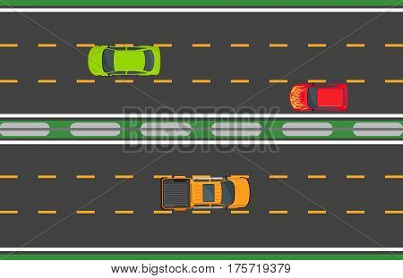 Highway traffic concept with red, green cars on one road and orange pickup on another road. Vector illustration of top view driving means of transportation on asphalt highroad in flat style.