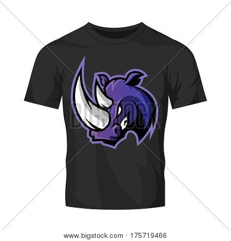 Furious rhino sport vector logo concept isolated on black t-shirt mockup. Modern rofessional team badge design. Premium quality wild animal t-shirt tee print illustration.