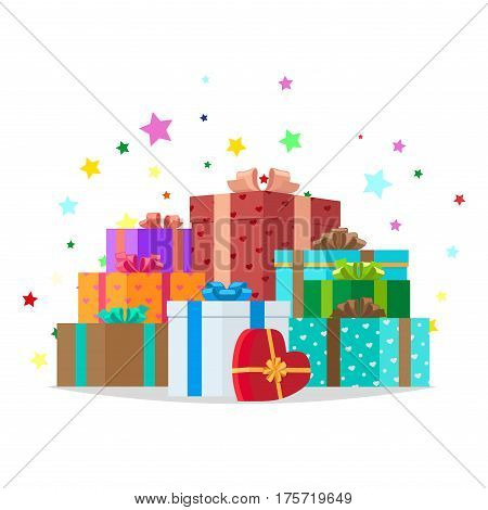 Bunch of colorful presents of different shape on white with stars around them. Heart shape and square gift boxes with bows. Celebrate holidays and exchange gifts isolated vector illustration.