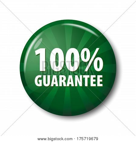 Bright Green Button With Words '100% Guarantee'
