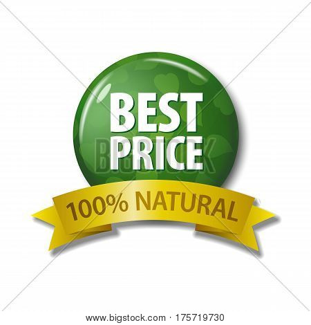 Green Button And Ribbon With Words 'best Price 100% Natural'