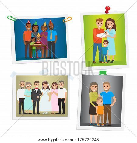 Family photos with special day happy memories inoculated on white. Vector poster of little boy s Happy Birthday, birth of child in family with male kid, wedding and just hilarious family photos