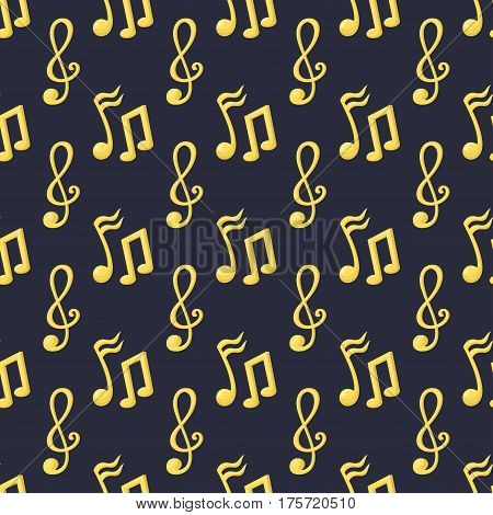 Gold rock star trophy music notes best entertainment win achievement clef and sound shiny golden melody success prize seamless pattern vector illustration. Champion competition honor sign.