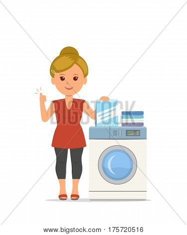 Vector cartoon woman housewife washes clothes in the washing machine. Isolated modern girl busy household chores. Concept design illustration housework in flat style.
