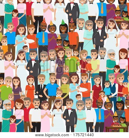 Family members standing in repeated long rows. Vector illustration of people poses for photos in wedding costumes, in festive caps celebrating child s Happy Birthday, with newborn and child on hands