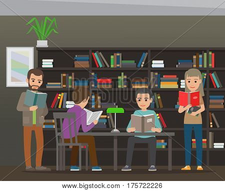 People reading textbooks in library. Men and women seating and standing with open books in interior with bookshelves flat vector. Enthusiastic readers illustration for educational and hobby concepts
