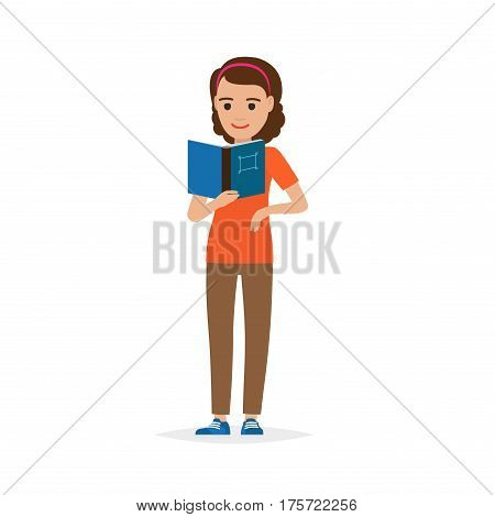 Isolated adult female person reading literature on white. Vector illustration in flat style of girl student with blue book and square on cover in hand. Learning calm process with publishing edition