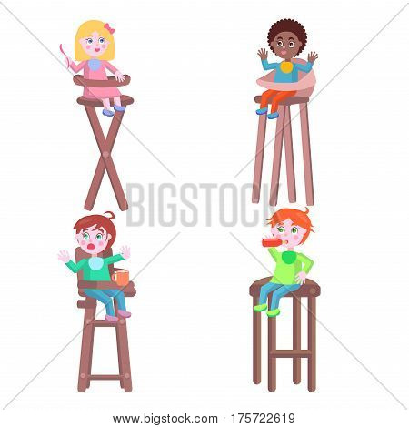 Baby with good appetite. Little boys and girls seating on children high chairs with bottle, cup and spoon flat vector isolated on white. Toddlers takes food illustration for kids feeding concepts