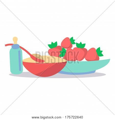 Little baby nutrition. Tasty cereal porridge in bowl, ripe strawberries and bottle with dummy flat vector isolated on white. Natural childrens food illustration for kids healthy ration concepts