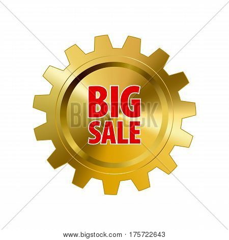Gold metal gear with words 'Big Sale' isolated on white background. Steel cogwheel. Discount tag for industrial companies car shops. Label for parts stores. Vector design element with gradient..